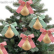 large festive glitter xmas tree candy cane red white hanging bow