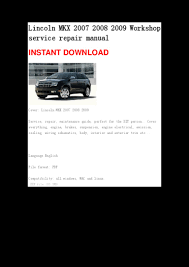 lincoln mkx 2007 2008 2009 repair manual