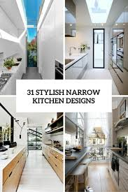 Narrow Kitchen Ideas 31 Stylish And Functional Narrow Kitchen Design Ideas Digsdigs