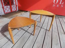mid century modern italian wooden pull out tables set of 2 for