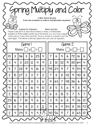 spring freebie no prep print and play math game multiplication