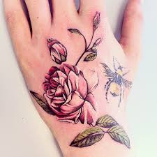 55 bees and flowers tattoos