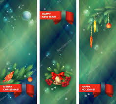 vertical holidays banners with christmas tree branches bird