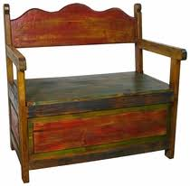 rustic painted benches from mexico