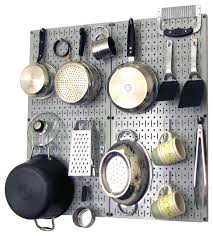 kitchen pegboard organizer pots and pans gray pegboard and white