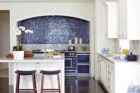 White And Blue Kitchen - white and blue kitchen with blue glass iridescent tile backsplash