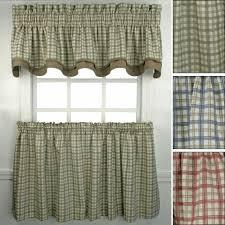 Kitchen Curtains At Walmart Bristol Plaid Tailored Tier Window Treament