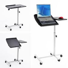 portable standing laptop desk rolling table adjustable computer