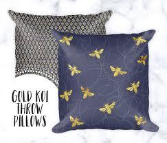 busy bee throw pillow pillow cases gold u0026 navy home decor