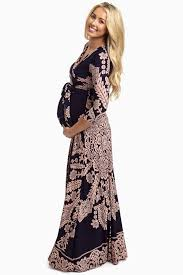 maternity dress navy pink printed draped maternity maxi dress maternity maxi