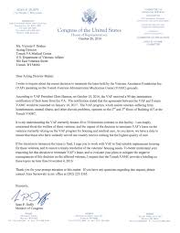 duffy letter to tomah va regarding vaf lease termination