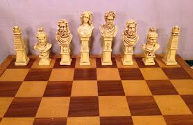 wood chess case with drawers molded plastic playing pieces roman