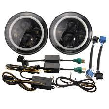 jeep headlights halo 45w 7inch round rgb angel eyes with strobe led halo headlights