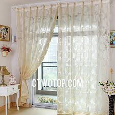 Patterned Sheer Curtains Ready Made Affordable Beige Leaf Patterned Sheer Curtains
