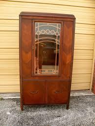 antique art deco walnut rosewood inlay cabinet bookcase bookshelf