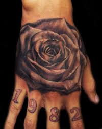 black n white flower tattoo on hand in 2017 real photo pictures
