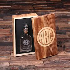 Personalized Wooden Gifts Personalized Vintage Style Whiskey Flask With Wood Gift Box