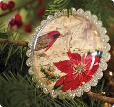 bird and decoupage ornament