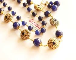 blue beaded necklace images Blue beaded necklace designer gemstone necklace at 3950 azilaa jpg