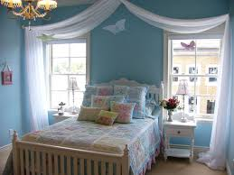 Bedroom Wall Designs For Teenagers Beautiful Blue Teenage Bedroom Wall Design With Floral Pattern Bed