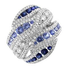 sapphires rings images Stunning 18k white gold sapphires and diamond cocktail ring r7914 jpg