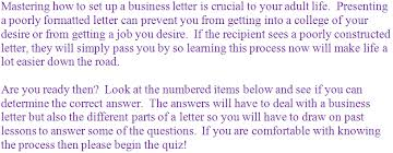Business Letter Quiz With Answers Grades 6 7 And 8 Language Middle School Writing