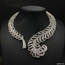 crystal diamond necklace images Luxury crystal leaf shaped diamond choker necklace 2015 fashion jpg