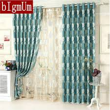 Yellow Brown Curtains Jacquard Floral Curtains For Bedroom Blackout Pattern Luxury