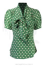 vintage blouse 40s style bow blouse emerald deco dot