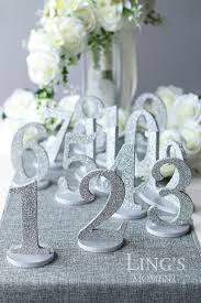 silver wedding table numbers wedding table numbers metallic paint or glitter detachable wedding