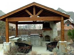 Traditional Pergola Also Corner Stone Fireplace Design Feat Black - Simple outdoor kitchen