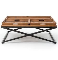 industrial square coffee table jaxon trio tray top wood iron industrial square coffee table
