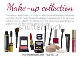 makeup artist accessories makeup template collection make cosmetics accessories stock vector