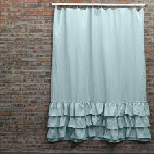 Turquoise Ruffle Curtains Vintage Washed Layered Ruffles Linen Shower Curtain Linenshed