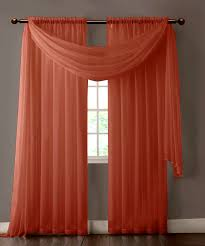 Long Window Curtains by Warm Home Designs Pair Of Orange Rust Sheer Curtains Or Extra Long