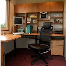 welcoming small home office with black leather swivel chair cncloans