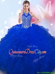 blue quincea era dresses sweet halter top beaded and ruffled royal blue quinceanera dress