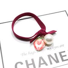 elastic hair band alloy fruit pearl elastic hair band ponytail holder hair