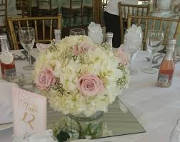 baby s breath centerpiece hydrangea baby s breath pale pink esther roses low centerpiece