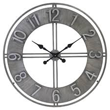 randal industrial loft grey iron wall clock kathy kuo home
