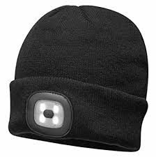 beanie with led lights portwest beanie hat with rechargeable led head light black amazon