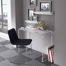 office minimalist home office with small console desk and grey