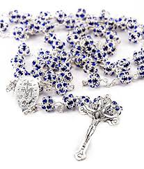 catholic rosary necklace blue zircon crystals rosary catholic necklace miraculous