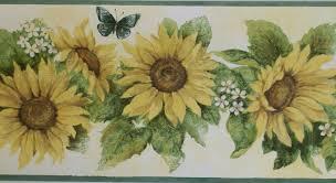 sunflower wallpaper border kitchen designing home 12522