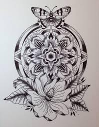 butterfly and mandala flower design