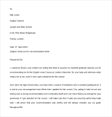 letter of recommendation sle thank you for recommendation letter thank you notes for