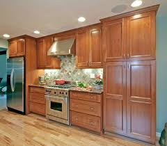 cherry cabinets kitchen contemporary with ceiling lighting black