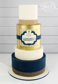 baptism cake in navy gold and white with edible hessian http