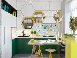 kitchen creative hexagonal sunken shelves with white geometrical