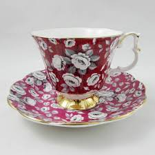 vintage china patterns royal albert red floral chintz tea cup and saucer vintage bone